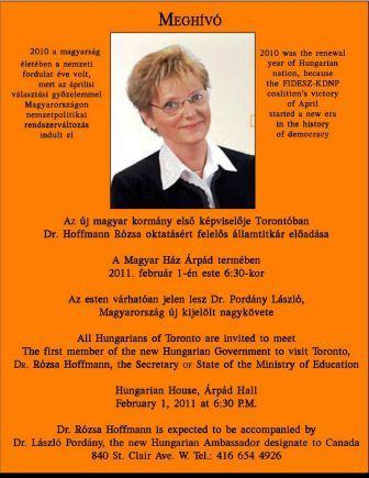 Hoffmann Rózsa hamarosan látogatásra érkezik Kanadába