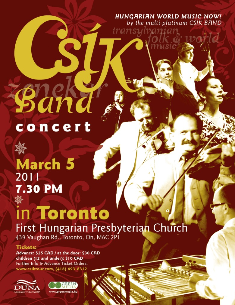 Hungarian folk and world music performed by the multi-award winning, multi-platinum Csík [Zenekar] Band.